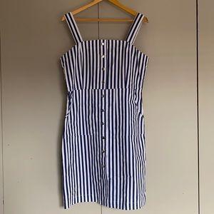 SES Navy Striped Prt Button Dress Size 14 BNWT